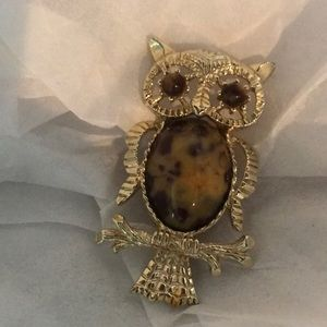 Vintage round belly owl brooch